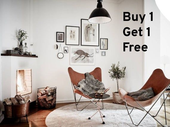 Buy 1 Get 1 Free Leather Butterfly Chair Brown And Premium Etsy In 2021 Butterfly Chair Comfortable Furniture Leather Butterfly Chair