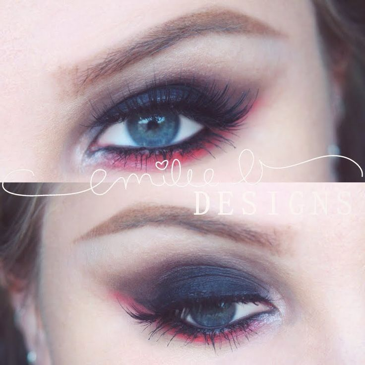 Red & Black Smoke by Emilee B. shows a scene stealing bottom lash line in red. See the MAKE UP FOR EVER products she used by clicking on the pic.