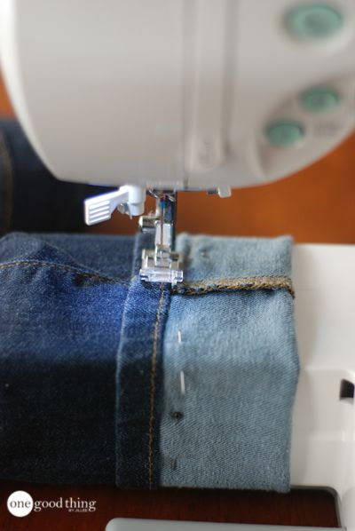 How to shorten your jeans but keep their store-bought look. Great way to make thrift store jeans the right height.