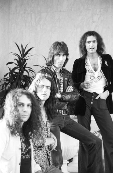 Singer Ronnie James Dio bassist Jimmy Bain drummer Cozy Powell and guitarist Ritchie Blackmore of the rock and roll band 'Rainbow' pose for a...