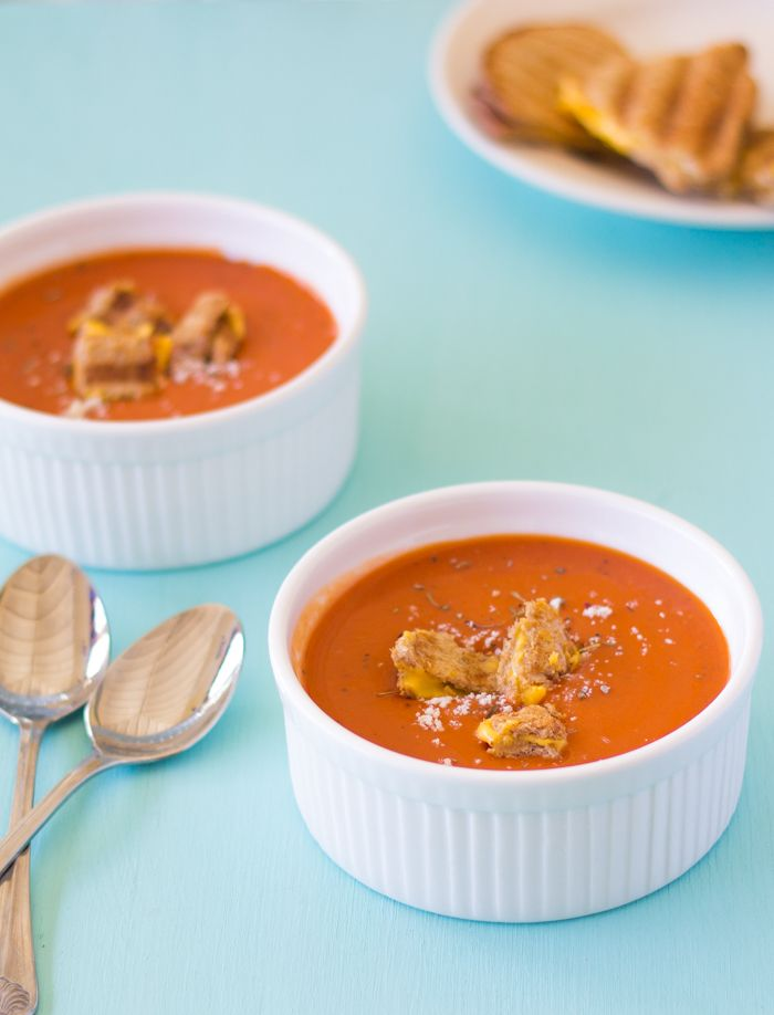 Roasted Tomato Soup with Grilled Cheese Croutons | Recipe ...