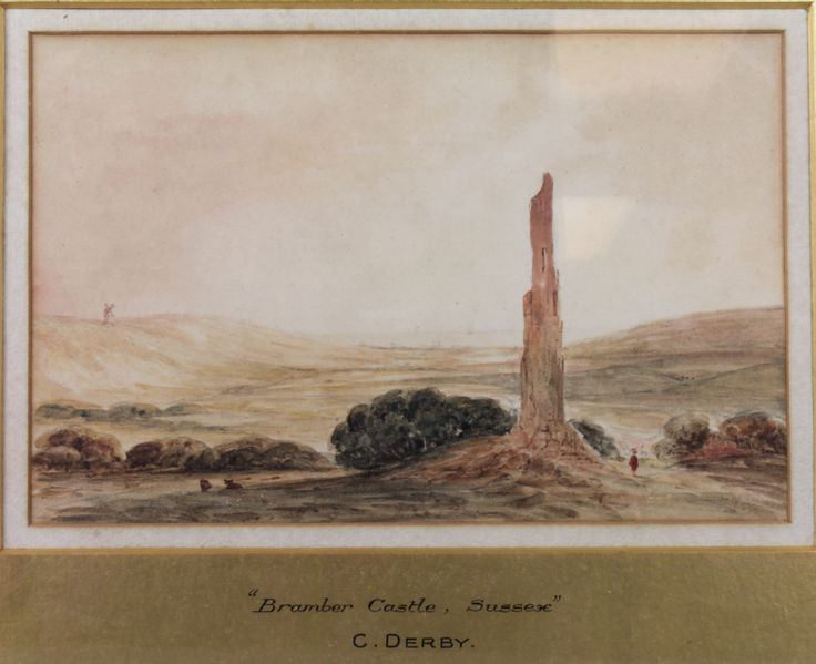 C Derby, a watercolour drawing, study of Bramber Castle, West Sussex, est £100-150