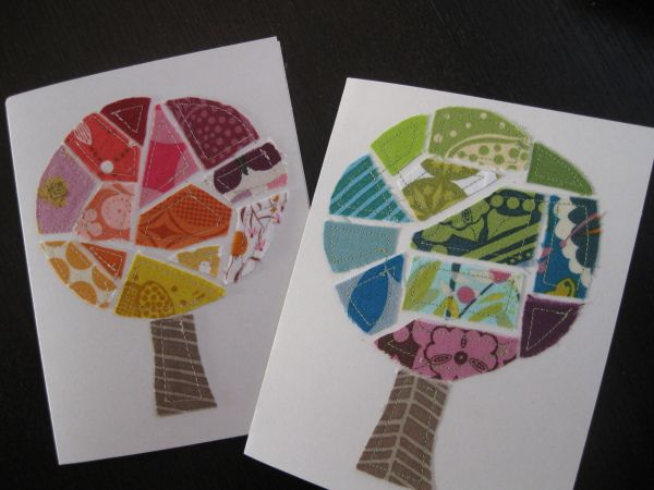 Scrap Fabric Tree Cards: Cute!! Like that mural you posted, but I love the shapes of these. Would make such sweet art for a kid's room.