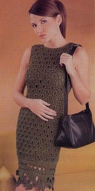 Brown Ocher Dress free crochet graph pattern