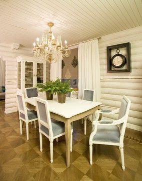 Log Walls Painted White For A More Formal Feeling. Painted Log Home