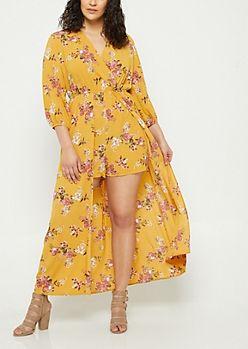 2c588490b3e5 Plus Dark Yellow Floral Print Maxi Romper