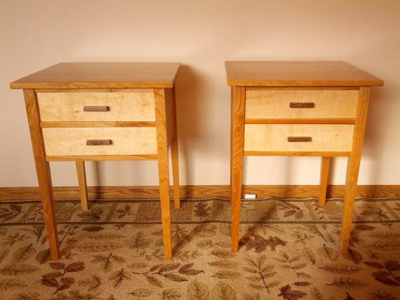 Cherry/Maple Two Drawer Night Stands Matched Pair  by jorjwood
