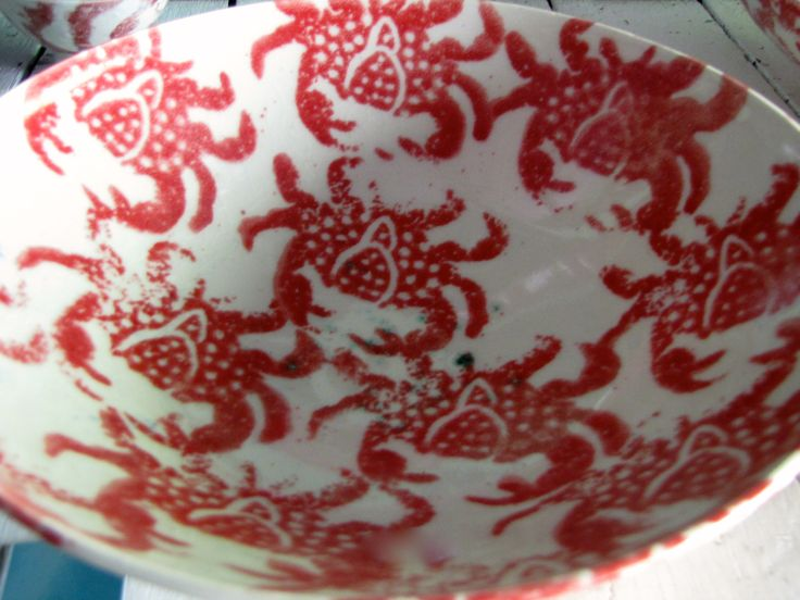 Stoneware Bowl with red crabs.