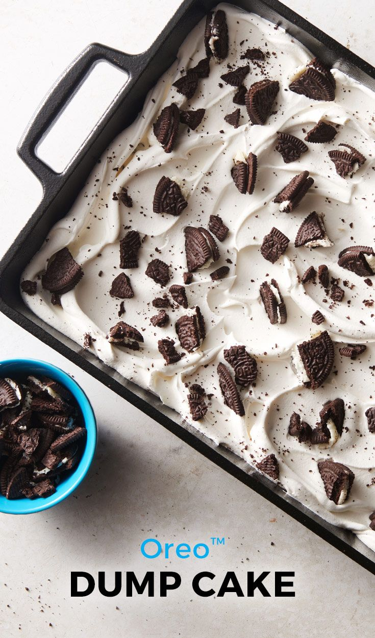 Calling all cookies and cream lovers! This easy Oreo™ dump cake is for you. This cake only takes 15 minutes of prep- so if you're short on time, this dessert is a must-make!