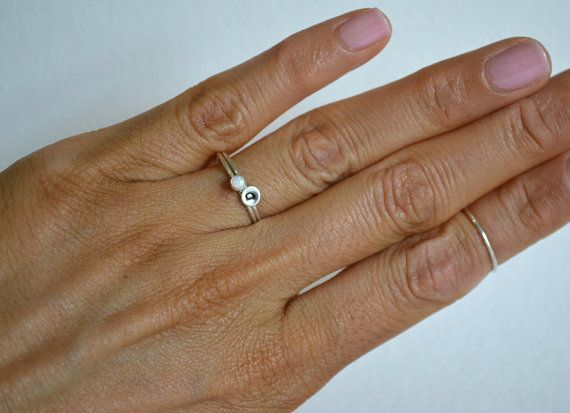 Set of Two Sterling Silver Opal Ring Personalized Ring by Fondeur