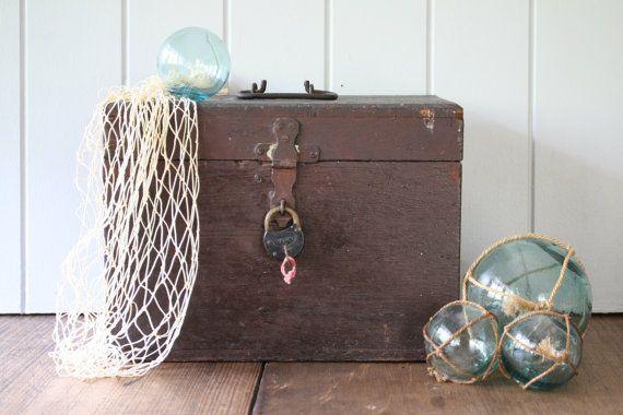 Old Cedar Box with Padlock Hinged Lid Rustic Storage by FoundByHer