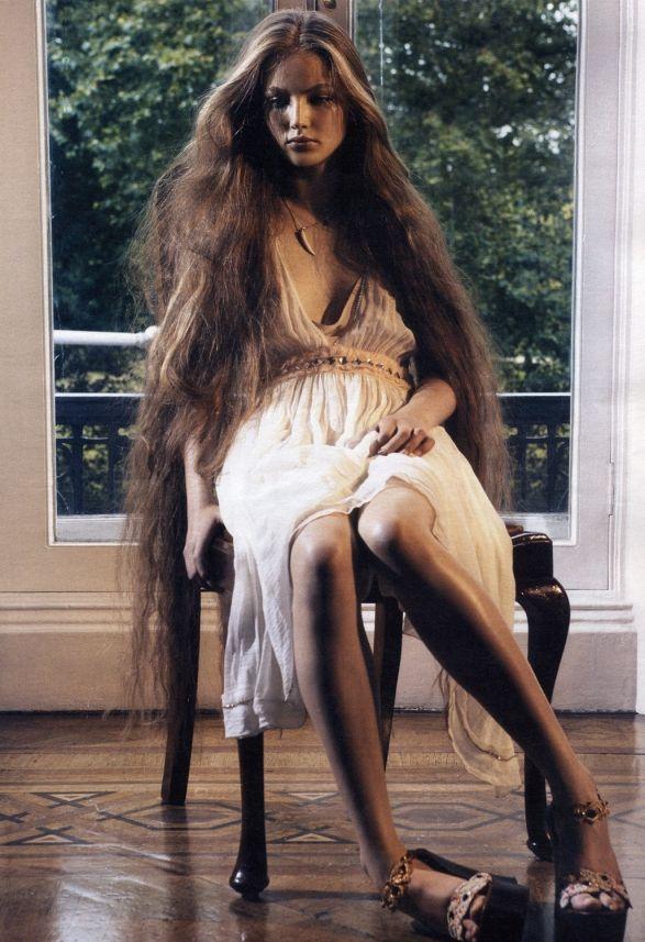 Russian supermodel Ruslana Korshunova extra-long hair