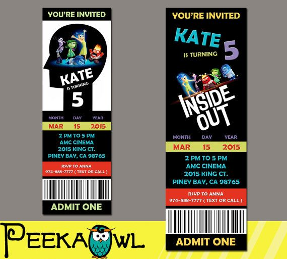 34 best Inside Out Theme Party images on Pinterest Birthdays - fresh invitation card reuse