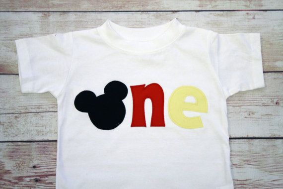 """Mickey Mouse Inspired """"One"""" Shirt for 1st Birthdays - Boy Birthday Outfit - Classic Mickey - Red, Black and Yellow on Etsy, $24.99"""
