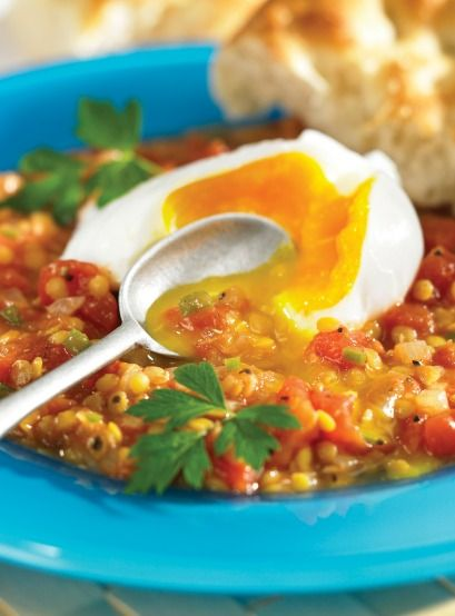 Poached Eggs on Spicy Lentils, page 263, Vegetarian Mains