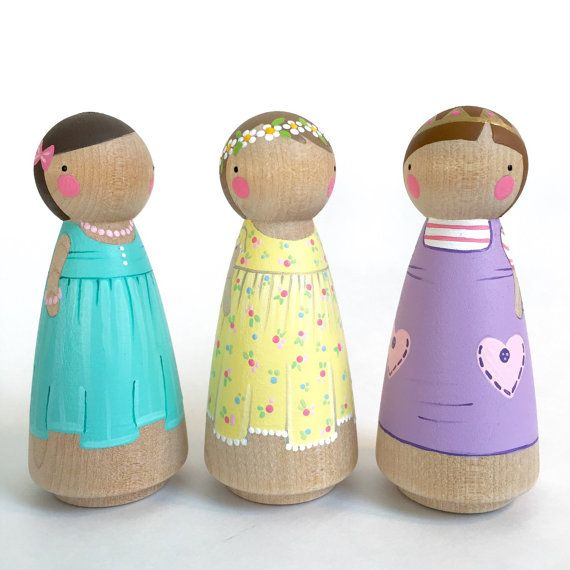 "PegandPlum Trio of  3 1/2"" Peg Doll Friends // (Three) 3 1/2"" girl peg dolls // pretty peg dolls // wooden dolls // 3 peg dolls"