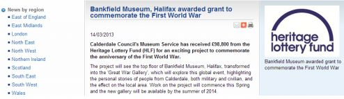 Bankfield Museum, Halifax, awarded grant by Heritage Lottery Fund for Centenary project