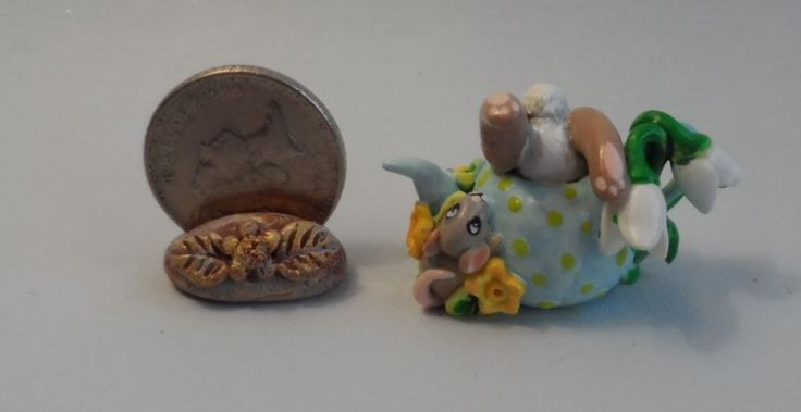 OOAK jumping rabbit on  teapot mouse and snow drop miniature Cottage Kitty