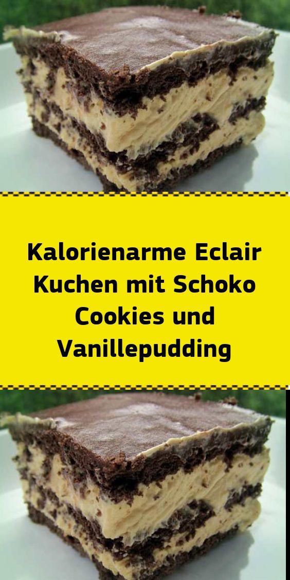 Kalorienarmer Eclairkuchen mit Schokoladenplätzchen und Vanillepudding