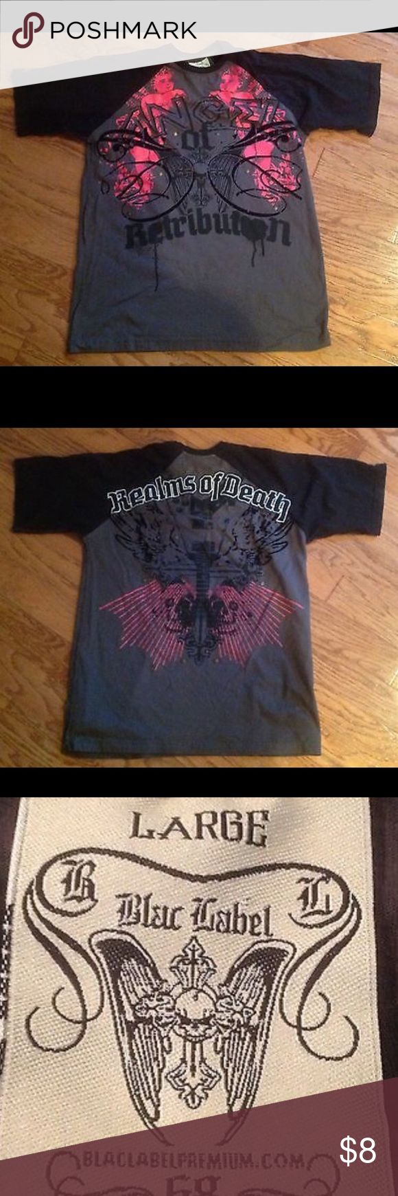 "T Shirt Angel of Retribution Realms of Death Large Gently used black with gray t shirt-size large with ""Angel of Retribution"" on the front and ""Realms of Death"" on the back. The width is ~ 21 inches and the length is ~ 27.5 inches; Blac Label; Blaclabelpremium.com; 68; Made in India; RN #1121721; 100% cotton; Machine wash cold water; Do not bleach; Tumble dry low; Warm iron as needed Blac Label Tops Tees - Short Sleeve"