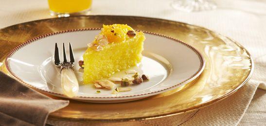 Gouden taart met citrussiroop