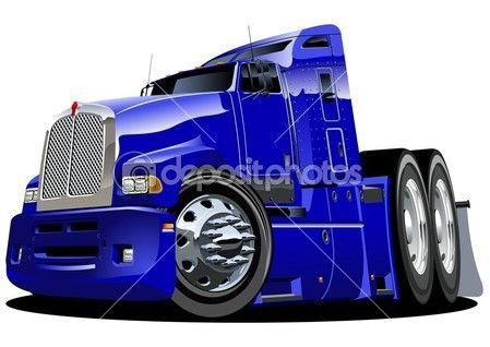 Vecteur caricature semi camion