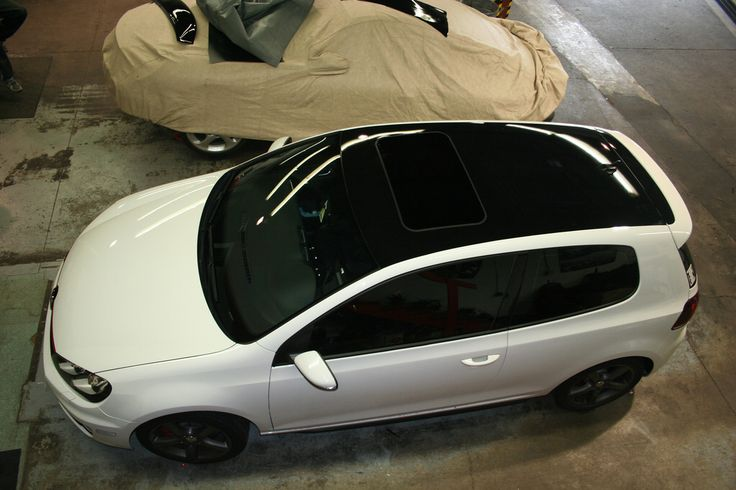 Candy White Vw Gti Mk6 W Piano Black Roof Wrap Cars