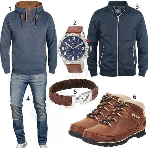 Outfit für Herren mit blauem Blend Kapuzenpullover und Übergangsjacke Brad, Tommy Hilfiger Armband und Armbanduhr, A. Salvarini Jeans und Timberland Boots.