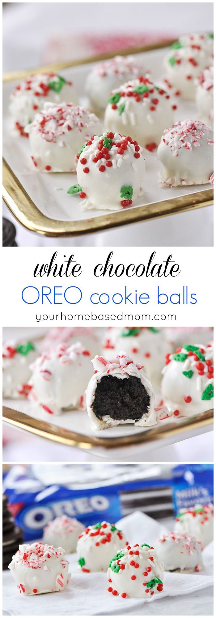 White Chocolate OREO Cookie Balls will be the first thing to disappear off your holiday cookie plate!  #ad