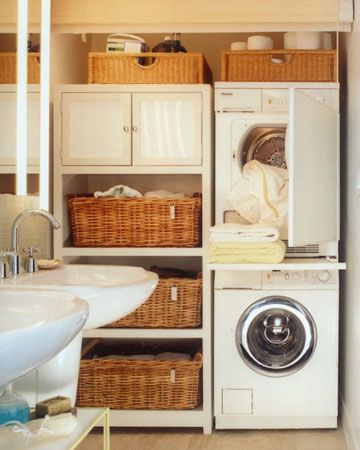 Tight-Space Laundry. How clever!  In the compact laundry workstation and storage area of a small bathroom, the stacked European-style washer-dryer set economizes space. A shelf between units pulls out for folding items fresh from the dryer, then slides out of sight. A matchstick shade lowers all the way to the floor, gracefully hiding the utility area when guests are expected.