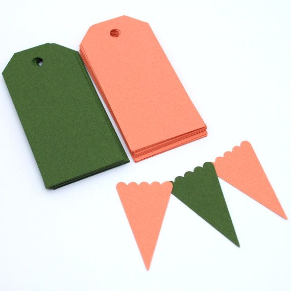 Gift Tags and Paper Bunting Set - Limited Edition Colours - Coral and Green by PaperCottonLove, $5.00