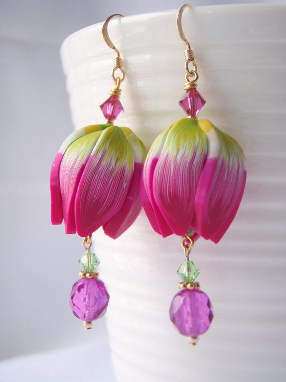 Spring Tulip Earrings handmade polymer clay by BlueMerlinCreations