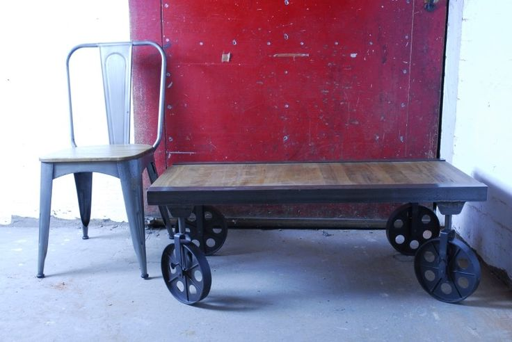 #Vintage industrial #cart #coffee #table in solid wooden mango on caster wheels