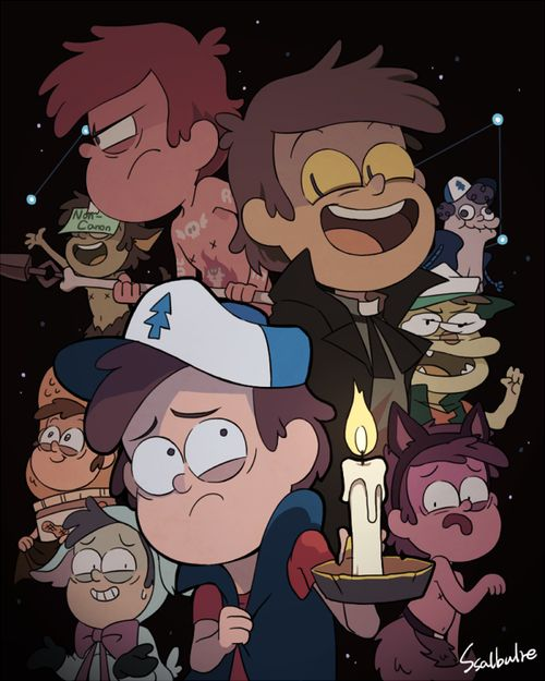All the versions of Dipper. There's regular Dipper, Bipper, Manly Dipper, Lamby Lamby Dipper, Wolfboy Dipper, Puppet Dipper, Paper-Jam Dipper, Dippertaur, and Peanut Butter Dipper. :)