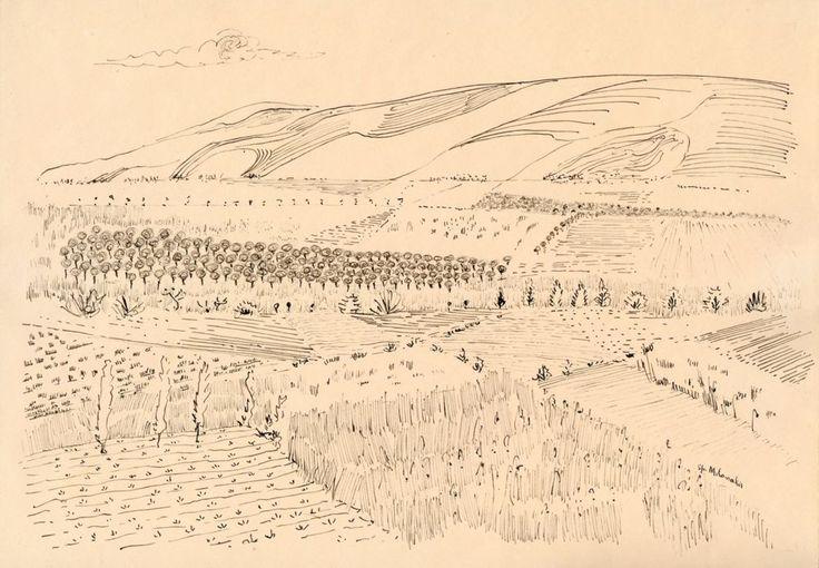 Landscape, '60s ink on paper by Greek Spyros Milonakis via Galerie Zygos