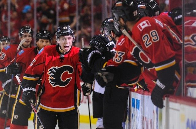 Calgary rookie Johnny Gaudreau celebrates scoring the game-tying goal Tuesday in Game 3 of the Flames' 4-3 overtime win over Anaheim. (Derek Leung/Getty Images)