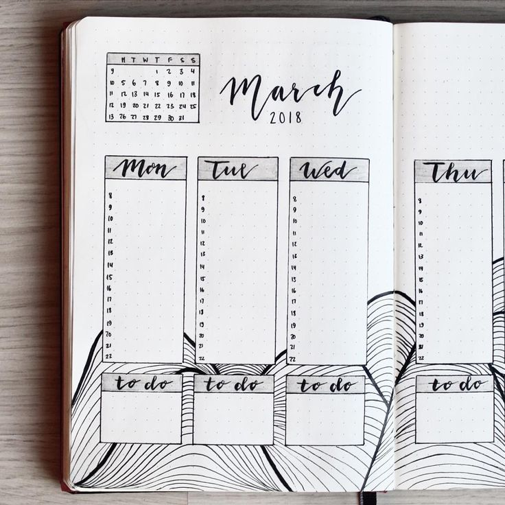 Bullet journal weekly layout, vertical dailies, hand lettering, vertical daily timelines, lineart.   @letssmart