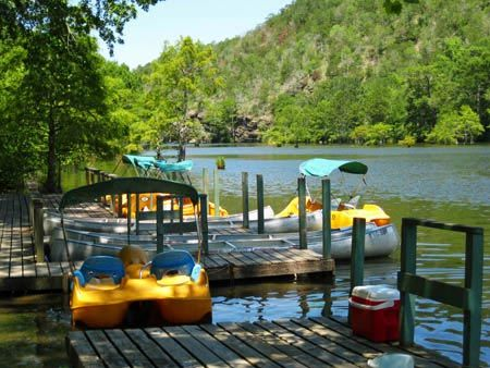At Beavers Bend Land & Water Park, located inside of Beavers Bend resort park. Bumper boats, paddleboats, canoes, and we have a great place to swim.