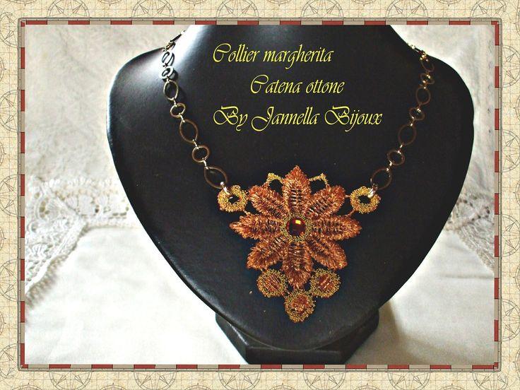 necklace pendant macramè lace embroidered with swarovski di giannelbijoux su Etsy https://www.etsy.com/it/listing/113211000/necklace-pendant-macrame-lace