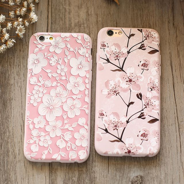 "Moda de luxo flor pintado relief 3d s para iphone 6 s 6 4.7 ""case para iphone 6 6 s plus 5.5"" TPU Caso de Telefone Celular Capa Shell"