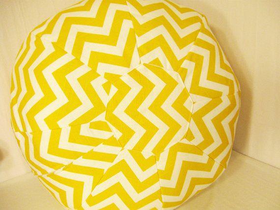 Large Yellow Chevron Print Floor Pouf