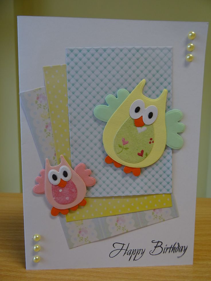 Handmade Birthday Card - Marianne Collectables Owl Die. For more of my cards please visit the CraftyCardStudio on Etsy.com.