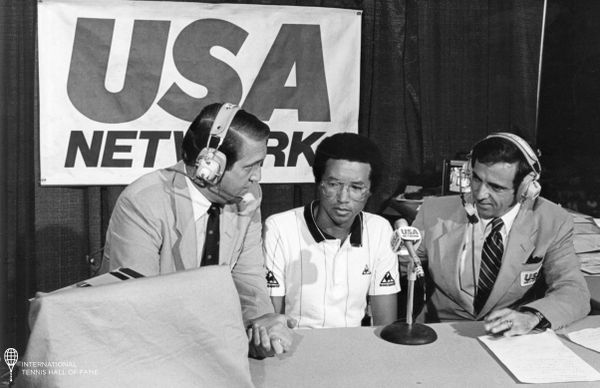 Archived: Hall of Famers in USA Network broadcast booth! Davis Cup Captain Donald Dell & the legendary Arthur Ashe! #tennis #atp #sports