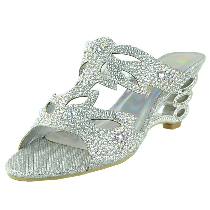 Womens Dress Sandals Rhinestone Glitter Cutout Wedge Heel Sandals Silver  Dressy Footwear Fashion Style Outfit