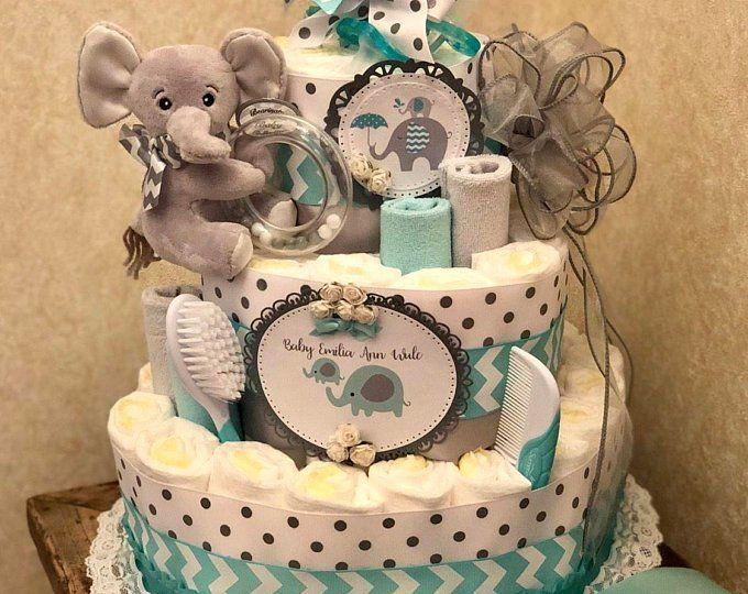 Diaper bouquet - baby shower centerpiece - baby boy shower ...