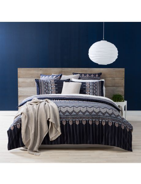 Inspired by the patterns of torn bark, this quilt cover set from Sheridan features an organic geometric design that is accentuated by a midnight background.