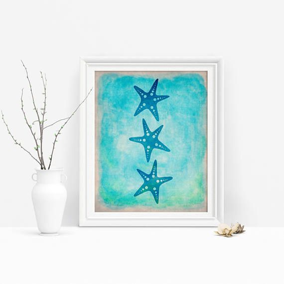 This printable starfish trio is a lovely touch for any marine or under the sea decor! Just download, print, and hang #starfishart #marinedecor #underthesea