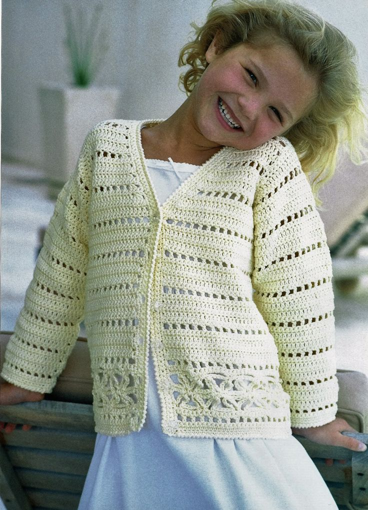 Crochet Girls Cardigan Sweater Pattern 3 4 5 7 8 10 11