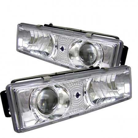 Spyder Auto 444-CCK88-C | 1989 Chevy Silverado Chrome/Clear Projector Headlights for SUV/Truck/Crossover