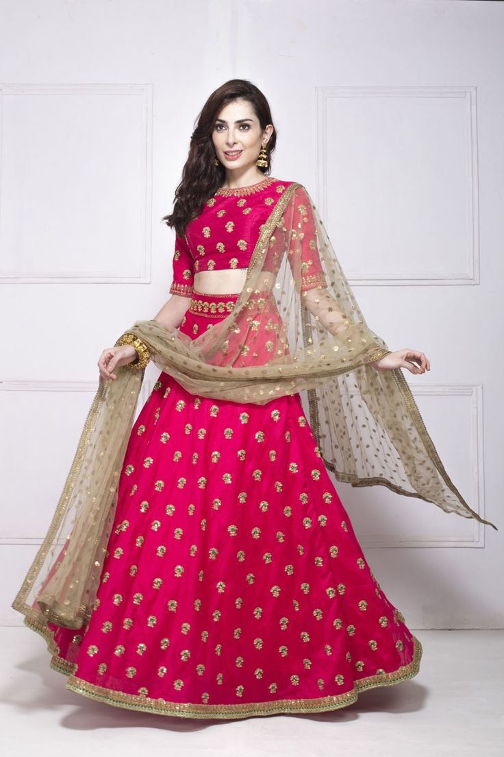 Light Lehengas - Pink and Gold Embroidered Lehenga with Beige Net Dupatta | WedMeGood #wedmegood #lehenga #pink #gold #indianbride #indianlehenga #sangeet